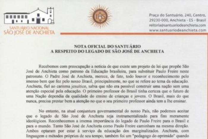 Padres criticam proposta de trocar Paulo Freire por Anchieta como patrono da Educação