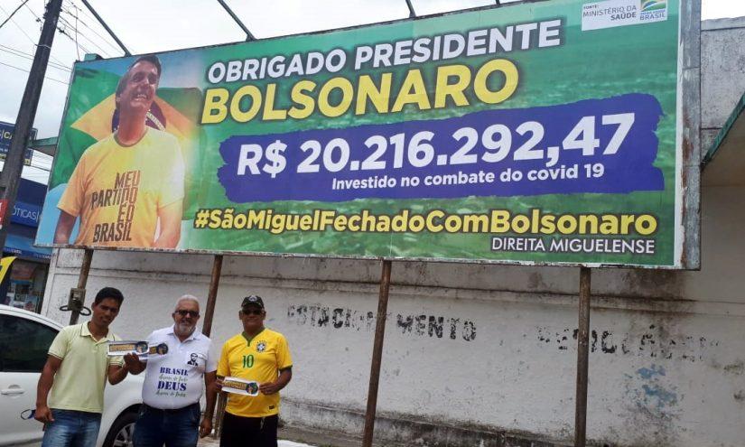 Outdoors em apoio ao presidente Bolsonaro tomam conta de São Miguel dos Campos