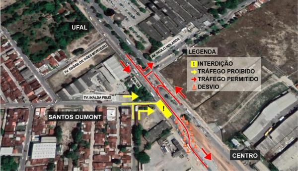ATENÇÃO MOTORISTA Setrand altera trânsito do entorno do Viaduto da PRF a partir de quinta-feira (1º)