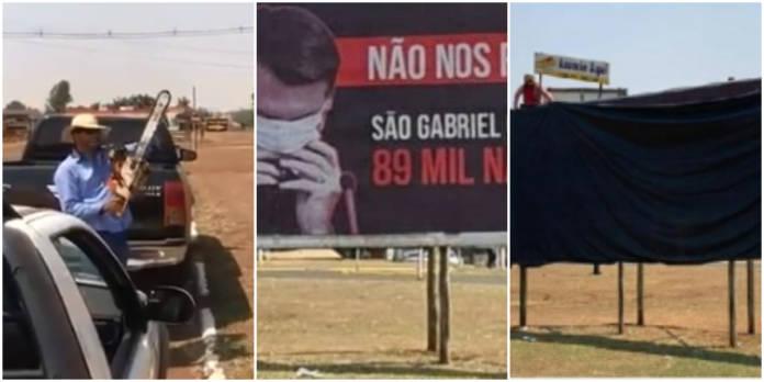 Bolsonaristas intimidam com motosserra ligada e censuram outdoor contra Bolsonaro no MS