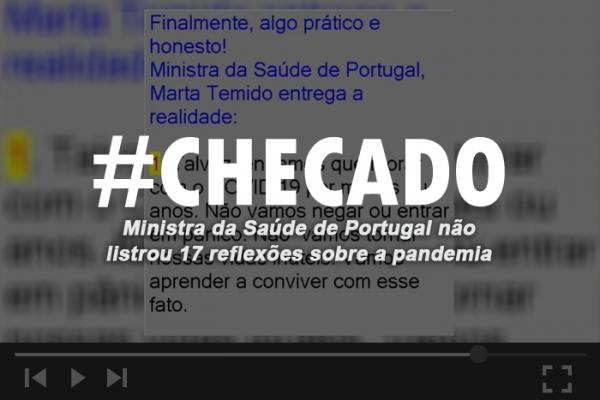 ALAGOAS SEM FAKE Ministra da Saúde de Portugal não listou 17 reflexões sobre a pandemia