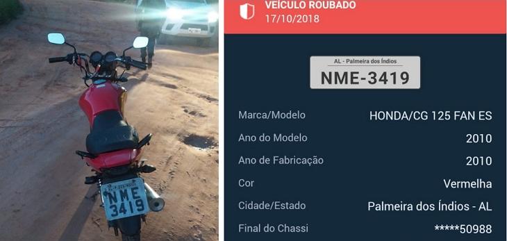Moto roubada em Palmeira dos Índios é recuperada em Garanhuns/PE