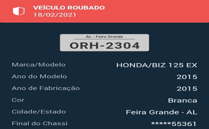 PM Pernambucana recupera moto roubada em Feira Grande, na cidade de Águas Belas